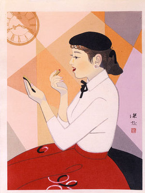 Ito Shinsui: Clock and Beauty, no. IV (Tokei to bijin, IV) - Scholten Japanese Art