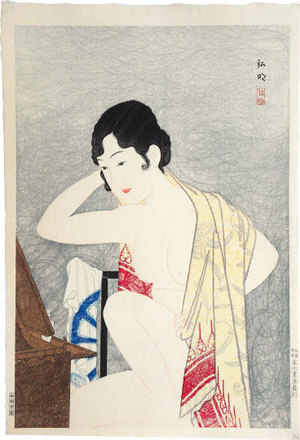 Takahashi Hiroaki: Make-up before the mirror (moga) (Kagami no mae- Kesho) - Scholten Japanese Art