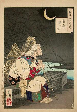 Tsukioka Yoshitoshi: One Hundred Aspects of the Moon: Gravemaker Moon (Tsuki hyakushi: sotoba no tsuki) - Scholten Japanese Art