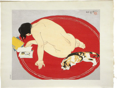 石川寅治: Ten Types of Female Nudes: Bored (Rajo jusshu: Tsurezure) title on original tissue paper cover - Scholten Japanese Art