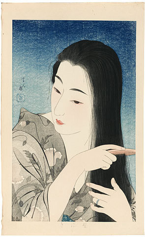 Torii Kotondo: Combing Her Hair (Kamisuki) - Scholten Japanese Art