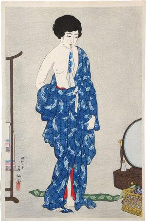 名取春仙: Three Beauties by Shunsen: After a Bath (Shunsen bijin sanshi: Yokugo) - Scholten Japanese Art
