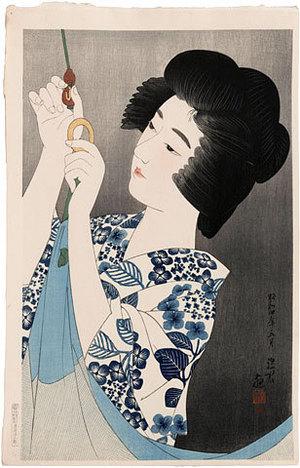 伊東深水: The First Series of Modern Beauties: Mosquito Net (Gendai bijinshu dai-isshu: Kaya) - Scholten Japanese Art