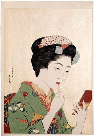 Hashiguchi Goyo: Girl Holding Lipstick (Benifude Moteru Onna) - Scholten Japanese Art