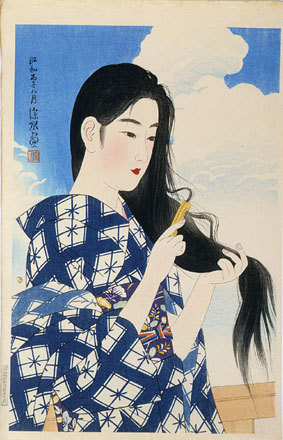 伊東深水: The Second Series of Modern Beauties: After Washing her Hair (Gendai bijinshu dai-nishu: Araigami) - Scholten Japanese Art