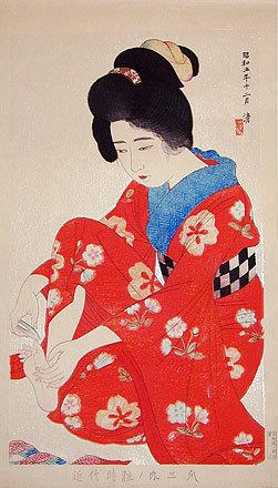 朝井清: Styles of Contemporary Make-up: no. 3, Nails (Kindaijisesho no uchi: san- Tsume) - Scholten Japanese Art
