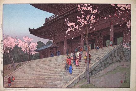 Yoshida Hiroshi: Eight Scenes of Cherry Blossoms: Chion-in Temple Gate (Sakura haddai: Sakura mon) - Scholten Japanese Art