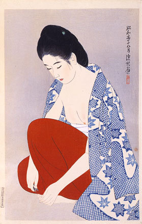 伊東深水: The Second Series of Modern Beauties: Nails (Gendai bijinshu dai-nishu: Tsume) - Scholten Japanese Art