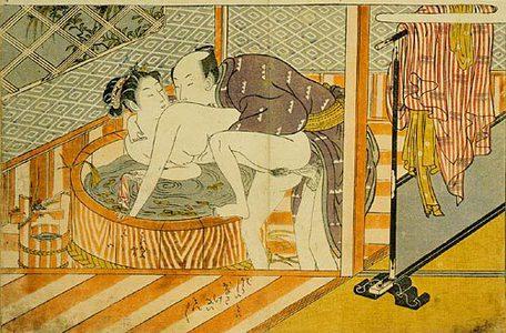 磯田湖龍齋: Prosperous Flowers of the Elegant Twelve Seasons: couple making love in front of the ofuro (bathtub) - Scholten Japanese Art