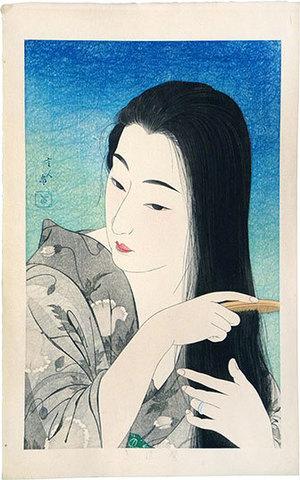 鳥居言人: Combing her hair (Kamisuki) - Scholten Japanese Art
