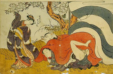 磯田湖龍齋: Prosperous Flowers of the Elegant Twelve Seasons: young woman watching a man in a fox-mask making love to his partner under a cherry tree - Scholten Japanese Art