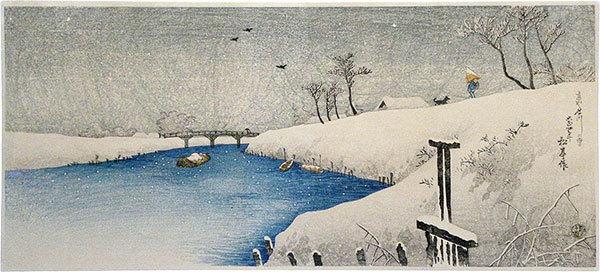 Takahashi Hiroaki: Snow on Ayase River (Ayasegawa no Yuki) - Scholten Japanese Art
