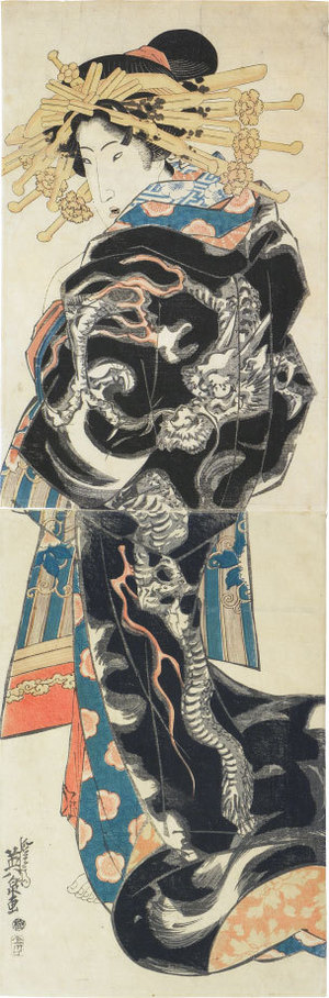 Keisai Eisen: courtesan wearing uchikake with dragon design - Scholten Japanese Art
