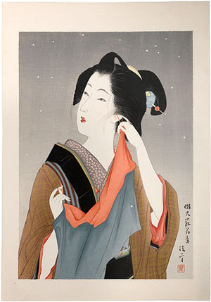 鏑木清方: Light Snow, Customs of Young Women: Beauty of the Fifteenth Year of Meiji [1882] (Meiji Jugonen Koro no Fuzoku) - Scholten Japanese Art