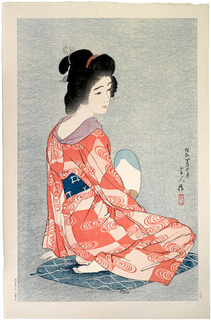 鳥居言人: Long Undergarment (light blue ground, pattern on kimono) (Nagajuban) - Scholten Japanese Art