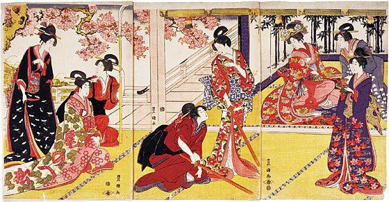 Utagawa Toyokuni I: a parody of kendo (the way of the sword) - Scholten Japanese Art