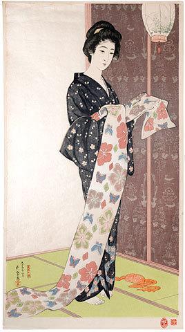 橋口五葉: Young Woman in Summer Kimono (natsu yosoi no musume) - Scholten Japanese Art
