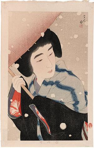 鳥居言人: Peony Snow (Botan Yuki) - Scholten Japanese Art