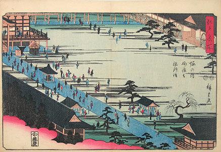歌川広重: Famous Places in Edo: Myohoji Temple at Horinouchi, the founder of the sect [Nichiren] (Edo Meisho: Horinouchi Myohoji soshi moude) - Scholten Japanese Art