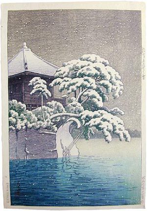 川瀬巴水: Snow at Godaido Temple in Matsushima (Matsushima Godaido no yuki) - Scholten Japanese Art
