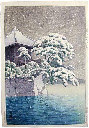 川瀬巴水: Snow at Godaido Temple in Matsushima (Matsushima Godaido no yuki) - Scholten Japanese Art