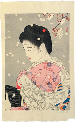 Shimura Tatsumi: Five Figures of Modern Beauties: Cherry Blossoms Blizzard (Gendai Bijin Fuzoku Gotai: Hana Fubuki) - Scholten Japanese Art