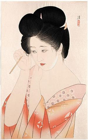 朝井清: Dressing Her Hair (Kamiyui) - Scholten Japanese Art