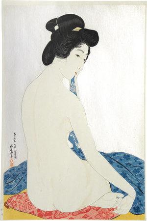 Hashiguchi Goyo: Woman after a Bath (mica ground) (Yokugo no onna) - Scholten Japanese Art