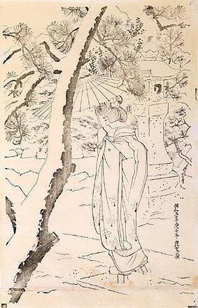 伊東深水: The First Series of Modern Beauties: Snow at the Shrine keyblock proof (Gendai bijinshu dai-isshu: Shato no yuki-sumizuri-e) - Scholten Japanese Art