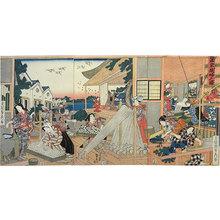 歌川貞秀: weaving women at silk-making cottage (Sanka Shokofu no zu) - Scholten Japanese Art
