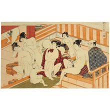 磯田湖龍齋: Twelve Bouts of Sensuality: men and women intermingling in bathouse - Scholten Japanese Art