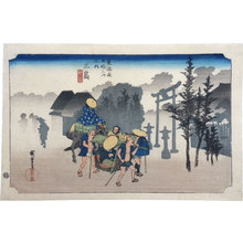 Utagawa Hiroshige: Fifty-three Stations of the Tokaido: Mishima, Morning Mist (Tokaido Gojusan Tsuji no Uchi: Mishima, asagiri) - Scholten Japanese Art