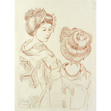 Paul Binnie: Kyo Maiko original conte drawing - Scholten Japanese Art