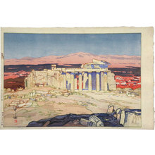 吉田博: Europe Series: Ruins of Athens (Acropolis- Day) [salmon variant] (Oushuu: Azensu no Kaseki) - Scholten Japanese Art