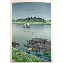 川瀬巴水: May Rain at Arakawa (Gogatsu ame: Arakawa) - Scholten Japanese Art