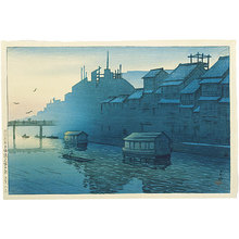 川瀬巴水: Souvenirs of Travel, Second Series: Morning at Dotonbori in Osaka (Tabi miyage dainishu: Osaka dotonbori no asa) - Scholten Japanese Art