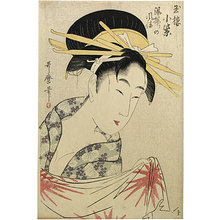 喜多川歌麿: Komurasaki of the Tamaya House After a Bath (Gyokuro Komurasaki Yuagari no Fuzei) - Scholten Japanese Art