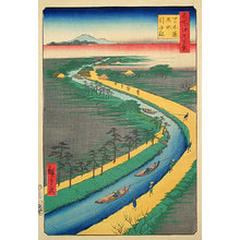 Utagawa Hiroshige: One Hundred Famous Views of Edo: Hauling Canal Boats, Yotsugi Road (Meisho Edo hyakkei: Yotsugi-dori, yosui hikifune) - Scholten Japanese Art