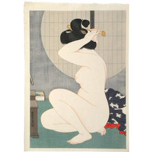 Hirano Hakuho: Woman Arranging Hair Before a Window (suggested title) - Scholten Japanese Art