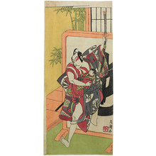 Ippitsusai Buncho: Ichikawa Danjuro V in the role of Yakushiji Jirouzaemon bursting through a tsuitate (standing screen) - Scholten Japanese Art