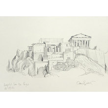 Paul Binnie: Acropolis original pencil sketch (on site) - Scholten Japanese Art