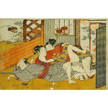 Isoda Koryusai: Prosperous Flowers of the Elegant Twelve Seasons: young couple making love while older man sleeps - Scholten Japanese Art