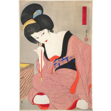 Ōhira Kasen: Twenty-Four Figures of Charming Women: Three, Before the Mirror (suggested title) (Adesugata Nijushiko: Kagami no mae, san) - Scholten Japanese Art