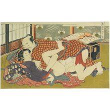 磯田湖龍齋: Twelve Bouts of Sensuality: couple making love before a shamisen - Scholten Japanese Art