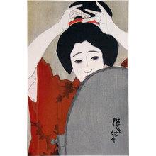 Kitano Tsunetomi: Seasons of the Pleasure Quarters: no. 4, Shinchi in Winter, Before the Mirror (Kuruwa no shunju: Dai-yon, fuyu [Shinchi], Kagami no mae) - Scholten Japanese Art