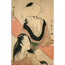喜多川歌麿: Types of Women's Handicraft: Cloth-Stretcher (Fujin tewaza junik-ko: shinshi-bari) - Scholten Japanese Art