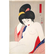 Ōhira Kasen: Twenty-Four Figures of Charming Women: Two, After a Bath (suggested title) (Adesugata Nijushiko: Yuagari, Ni) - Scholten Japanese Art
