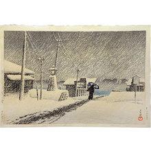 川瀬巴水: Twenty Views of Tokyo: Snow at Tsukijima (Tokyo Nijukkei: Tsukushima no yuki) - Scholten Japanese Art
