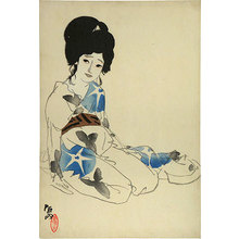 北野恒富: Seasons of the Pleasure Quarters: no. 3, Horie in Summer, Twilight (Kuruwa no shunju: Dai-san natsu [Horie], Yugure) - Scholten Japanese Art
