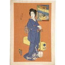 Natori Shunsen: The Matsumoto Teahouse in Nakanomachi: The Geisha Chitosei ((Matsumoto-ya: Nakanomachi, Chitosei)) - Scholten Japanese Art